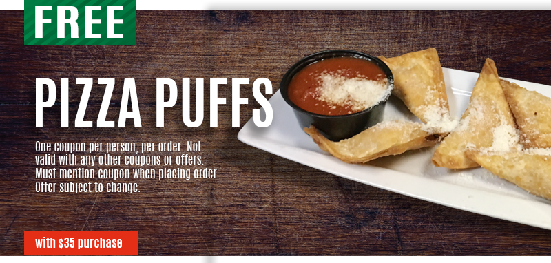 Free Pizza Puffs special with $35 purchase